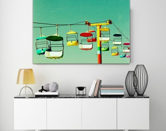 wall art canvas /  bright mid century modern horizontal canvas  / large beach santa cruz wall art - Summer of 67, 40x60 photograph on canvas