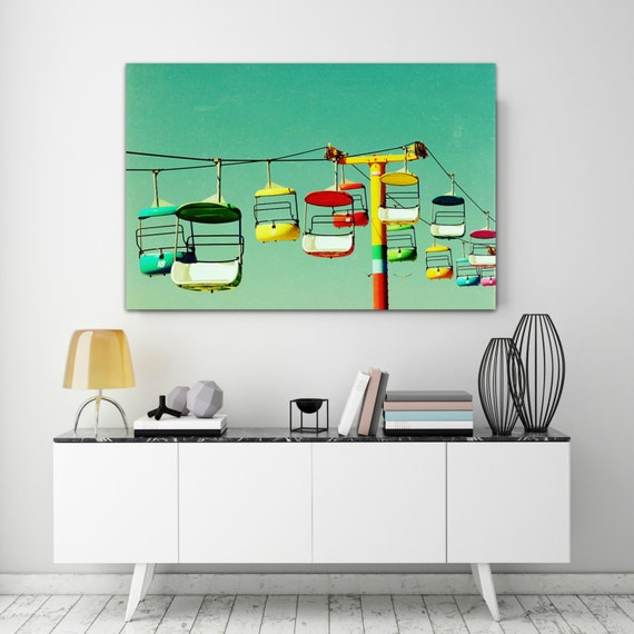 Wall art canvas bright mid century modern horizontal canvas like this item sciox Images