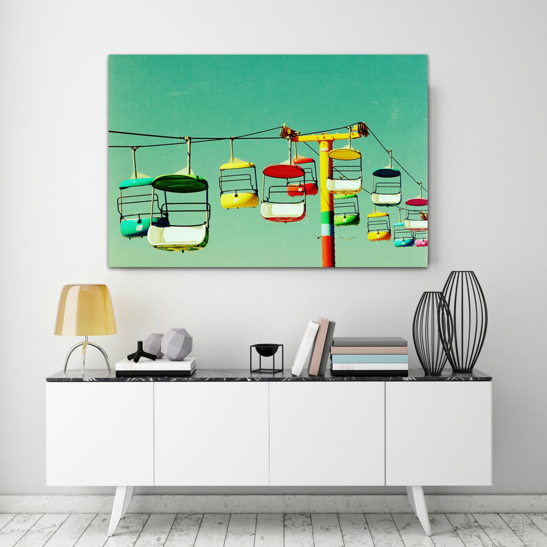 wall art canvas bright mid century modern horizontal canvas