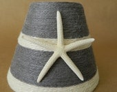 Jute Wrapped Beachy Chic Gray and White Striped Chandelier Lampshade with Pencil Starfish Beach Decor Custom Order Only