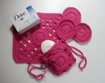 Crochet Drawstring Soap Saver, Face Pads & Washcloth - Hot Pink - Cotton Spa Bath Gift Set