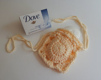 Crochet Soap Holder Bag - Cotton Drawstring Soap Saver - Pale Soft Yellow