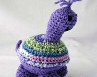 Pansy the Purple Turtle Crocheted Amigurumi Stuffed Toy ready to ship