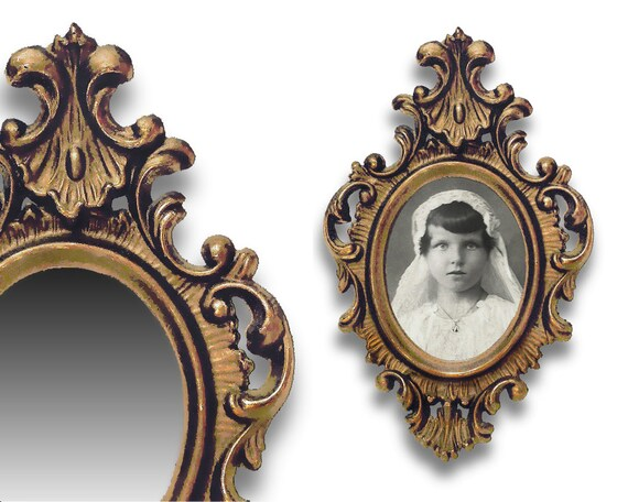 Baroque style frame mirror 1950s cast in resin with a for Plastic baroque mirror