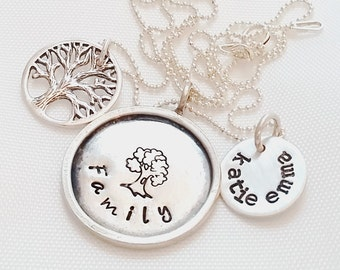 Mom Name Necklace - Family Tree Necklace - Hand Stamped Mommy Jewelry - Tree necklace