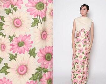 ON SALE Vintage 60s Maxi Dress / Floral Maxi Dress / Mod Dress / Pastels / M L