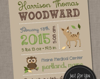 Birth Stats Woodland Creatures Nursery Wall Art Announcement - Custom Colors - 8x10 Custom Printable YOU PRINT (Digital File)