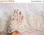 SALE 10% OFF Ivory Embroidered Sequin Lace Sheer Mesh Trim / Wedding Dress Lace / Bridal / Veil Lace