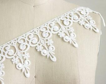 Isabella Large White French Bridal Venice Lace / Wedding Dress Lace Trim / Lace Appliques / Lace for Crowns / Craft Cabaret
