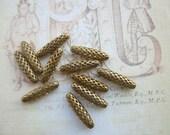 Raw Brass Tapered Oval  Filigree Beads 19x5mm 12Pcs.