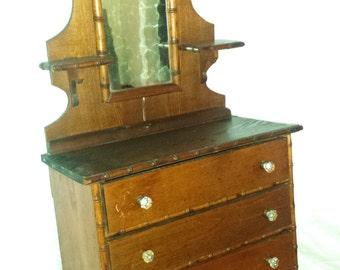 Antique 1920's Child's Doll Wooden Dresser w Mirror Bamboo