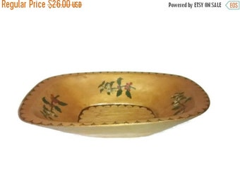 Valentine SALE Vintage Hand Painted Wood, Trencher Bowl , Pyrography ,