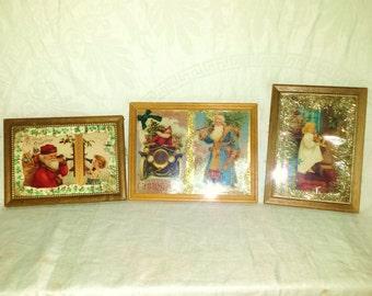 Vintage Christmas postcards framed embellished tinsel ribbons
