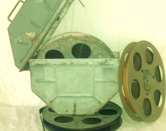 Vintage Movie Reel Canister 35mm with Three Reels of Film
