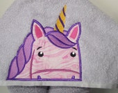Magical Purple Unicorn Face Hooded Towel, Peeking Unicorn Face Hooded Towel