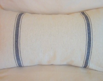 Grain Sack Pillow Cover, Navy Stripes, Cottage Chic, French Cottage, Decorative Pillow, Various Sizes, One or Two Stripes