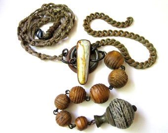 Adapt to Chaos -long tribal cream California tigers eye, industrial found metal, African clay bead, vintage wood bead, hemp macrame necklace