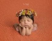 tie back floral halo,dry flowers crown,new born crown,dried flowers