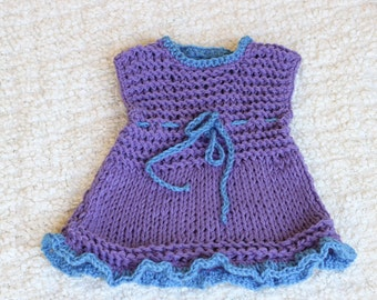 Knitted dress, 24m Knitted dress, Little Girl Gift,Purple Knitted Dress