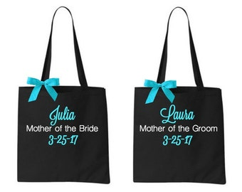 2 Personalized Mother of the Bride and Groom Tote Bags