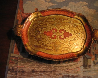 Red and Gold Florentine Serving Tray