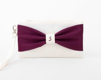 SALE -Bridesmaid gift ,bridesmaid clutch ,MONOGRAMMED ,personalized bridesmaid clutch ,ivory deep purple,eggplant