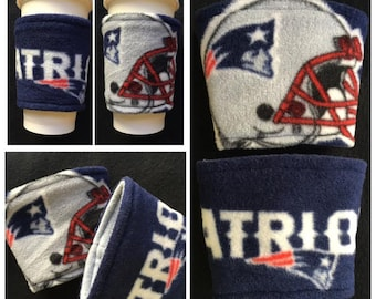 A [SET OF 2] NFL New England Patriots  Fleece Fabric Coffee Cozy ,  Disposable  Coffee Cup Holder - Coffee Sleeve - Coffee Cozies