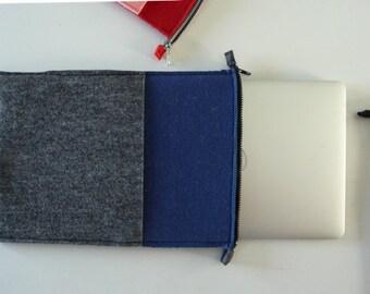"""MacBook Air 13"""" Sleeve wool case in mottled dark grey and navy blue"""