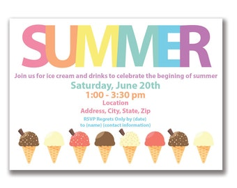 Customizable Icecream Summer Party Invitation [Digital File ONLY]