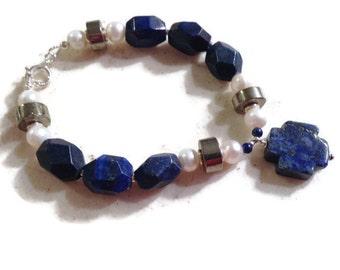 Lapis Bracelet - Pyrite Pearl Bracelet - Sterling Silver Jewelry - Gemstone Jewellery - Navy Blue