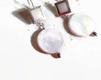 White Earrings - Shell Jewelry - Sterling Silver Jewellery - Beaded - Fashion - Chic