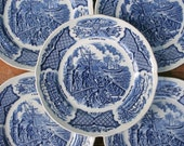 Staffordshire Fair Winds dishes, English Stoneware, Alfred Meakin bread and butter, blue transferware