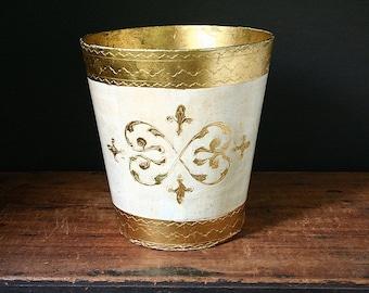 Florentine waste basket, vintage waste basket