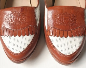 Vintage Aigner two tone loafers, spectator shoes, Size 7M