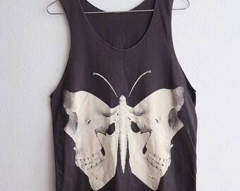 Skull Butterfly Moth Gothic Art Fashion Punk Rock Hip Hop Tank Top M