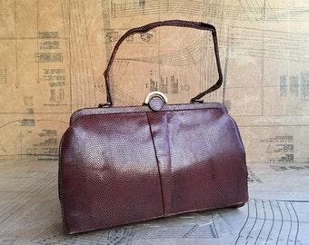 1940s Snakeskin Handbag. Chestnut Brown Bag with Art Deco Clasp