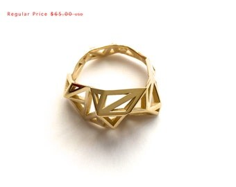 SALE statement ring gift, geometric - Slim Triangulated Ring in Polished Brass. 3d printed, architectural jewelry, modern