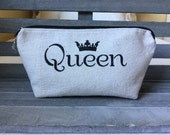 Vintage Grain Sack Fabric Queen Crown Makeup Bag Cosmetic Bag Enter Coupon Code SALE50 and Save 50%
