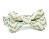 Mint and Gold Chevron Bow Tie for Boys, Toddlers, Baby - pre tied bowtie, wedding, ring bearer, photo prop, holiday