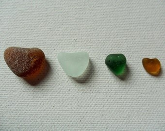 4 pretty sea glass heart shapes - yellow, amber, white and green Lovely English beach find pieces