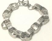 Bracelet, Silver Chunky Link, Toggle Clasp,Chunky Jewelry,Silver Hammered,Hammered Jewelry,Silver Jewlery, Chain Link Bracelet by Cindydidit