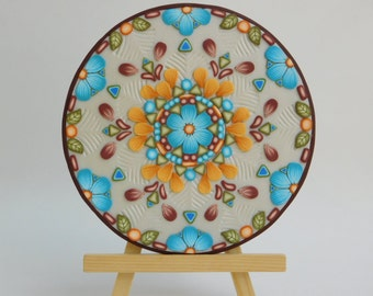 Mandala Art, polymer clay flowers, kaleidoscope design, upcycled CD