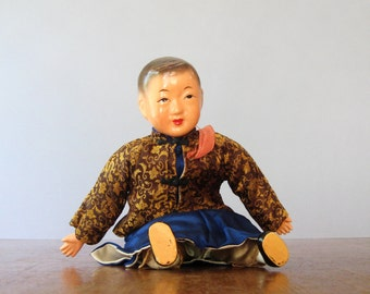 Vintage Composition Doll - Chinese Boy with Silk Clothing