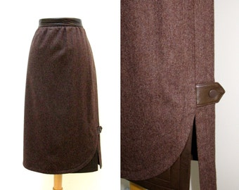 """Vintage 1980s Escada Brown Wool Pencil Skirt with Leather Trim and Accents 30"""" Waist"""