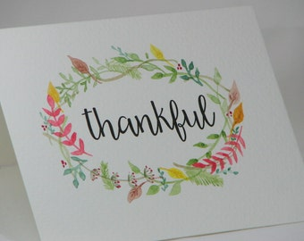 OOAK Handpainted Wreath of Thankfulness Greeting Card
