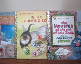 set of 3 Little Golden Books My first Counting Book, Sesame Street with Grover, and The Animals' Christmas Eve
