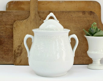 Antique White Ironstone Sugar Bowl with Lid - Meakin & Co - c 1865 - 1873 - England - Ornate Floral Pattern - Handles - Farmhouse Style