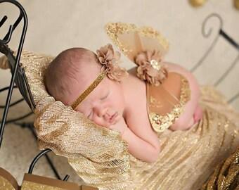Sparkle Butterfly Wings, Newborn Girl, Photo Prop, Flower Headband, Matching Set, Gold Elastic