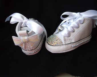 Baby Converse, White Leather, Pearls Rhinestones, AB Crystals, Sequin Bows, Size 1 2 3 4, Infant Girls, Satin Laces