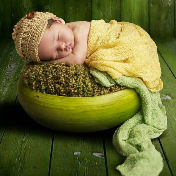 Baby Hat, Newborn Cap, Gray Tan Newsboy, Boys Photo Prop, Crochet Hat, Brimmed Button, Fast Shipping
